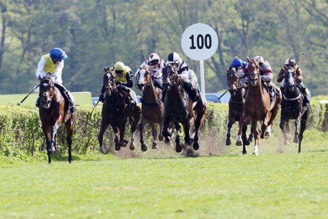 So war es im letzten Jahr: Ideal mit Robert Havlin gewinnt das BBAG Auktionsrennen. www.galoppfoto.de - Frank Sorge