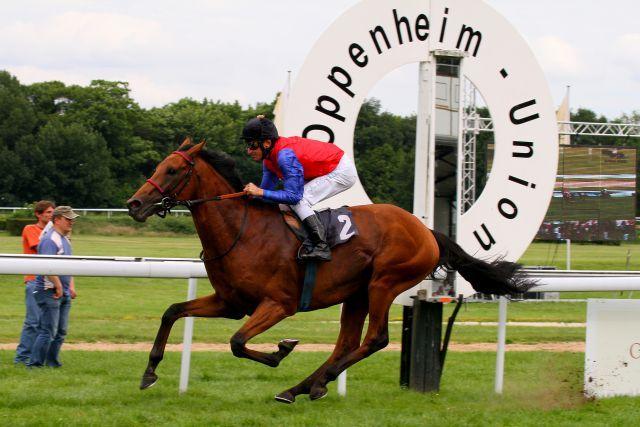 Mit zweieinhalb Längen lag Ivanhowe im Union-Rennen vor der Konkurrenz ... www.galoppfoto.de - Sandra Scherning