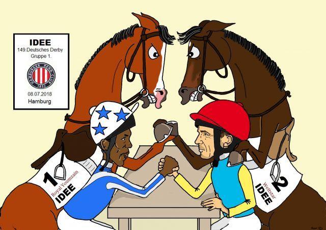 Ein Zweikampf zwischen Royal Youmzain und Weltstar oder ist auch das Derby 2018 wieder für eine Überraschung gut? ©miro-cartoon