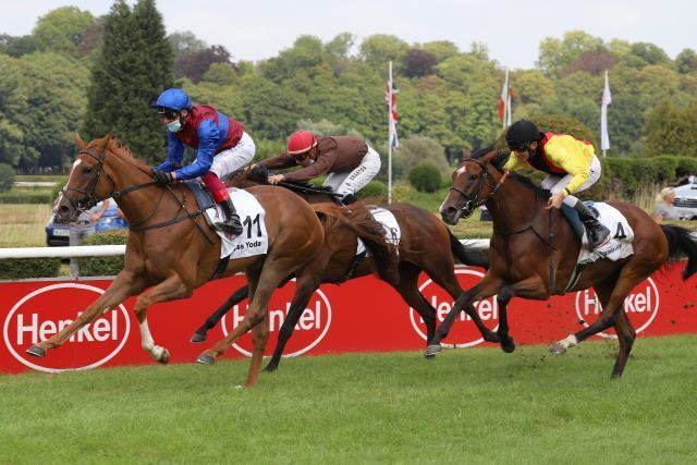 Miss Yoda, winning the German Oaks, Zamrud second, Virginia Joy (r.) third. www.galoppfoto.de - Sandra Scherning