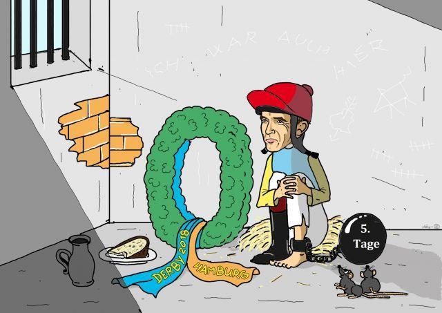 Die Kehrseite der Medaille: Nach dem Jubel über den ersten Derbysieg folgt die Strafe auf dem Fuß. ©miro-cartoon