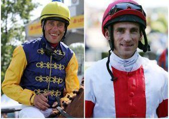 Spannende Entscheidung ums Jockey-Championat: Mit nur einem Zähler Vorsprung liegt Alexander Pietsch (links) vor dem letzten Renntag vor Andrasch Starke. www.galoppfoto.de