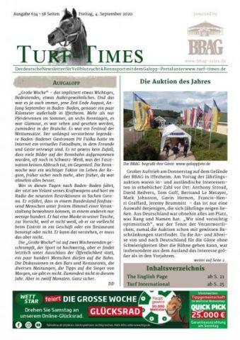 Der neue Turf-Times Newsletter, Ausgabe 634, liegt zu Download bereit ...