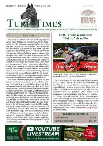 Der neue Turf-Times Newsletter, Ausgabe 671, zum Download bereit!
