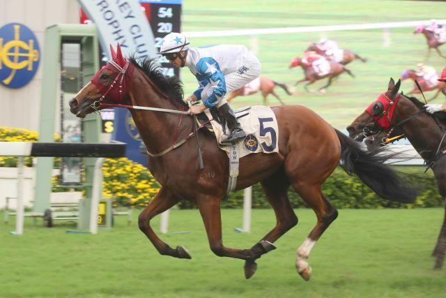Der Dabirsim-Sohn Uncle Steve gewinnt in Sha Tin, dotiert war das Rennen mit ca. 157.000 Euro. Foto: HKJC