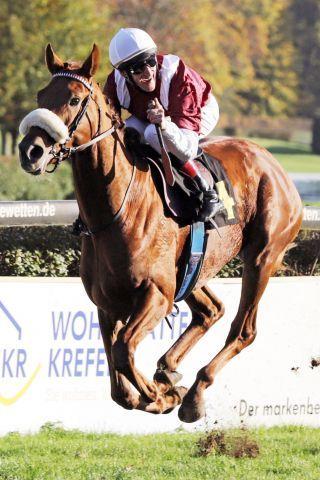 Führt das Derby-Feld an: Wonderful - hier mit Andrasch Starke im Herzog von Ratibor-Rennen. www.galoppfoto.de - Stephanie Gruttmann