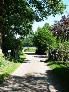 Die Einfahrt des Hesselhofs - mitten im Grünen. Foto: Karina Strübbe