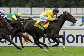 Der Sieg geht nach Frankreich: Elliptique gewinnt den Dallmayr-Preis vor Royal Solitaire. www.galoppfoto.de - WiebkeArt
