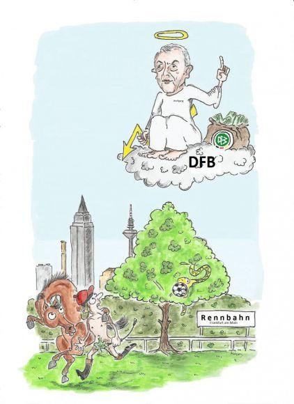 Ein Sündenfall?: Der Fußball-Gott in Person des DFB-Präsidenten Wolfgang Niersbach vertreibt die Galopper von der Frankfurter Rennbahn. ©miro-cartoon