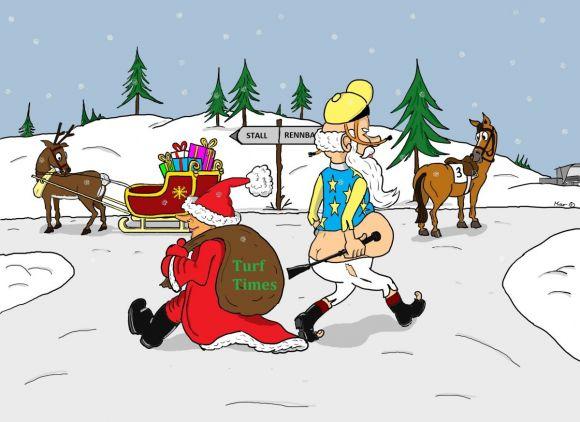 Job-Tausch zwischen Jockey und Weihnachtsmann: Da haben beide schwer zu tragen. ©miro-cartoon